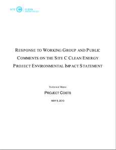 Site C - Project Costs Technical Memo